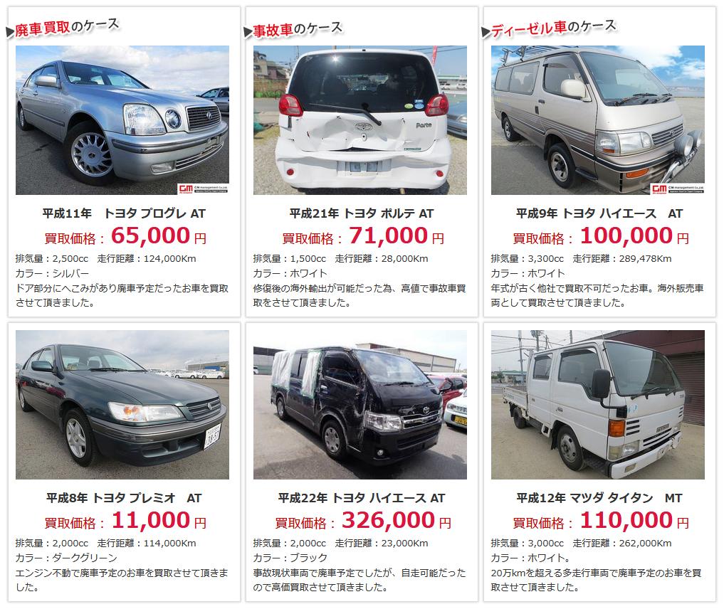 実際の事故車や廃車の買取事例
